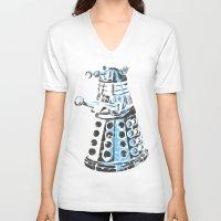 dalek V-neck T-shirts featuring Dalek Graffiti by spacemonkey89