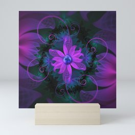 Beautiful Ultraviolet Lilac Orchid Fractal Flowers Mini Art Print