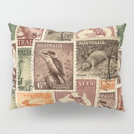 Vintage Australian Postage Stamps Collection Pillow Sham