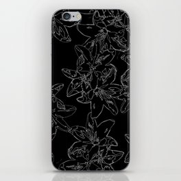 black and white line art flowers iPhone Skin
