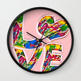 Colorful pink love Wall Clock