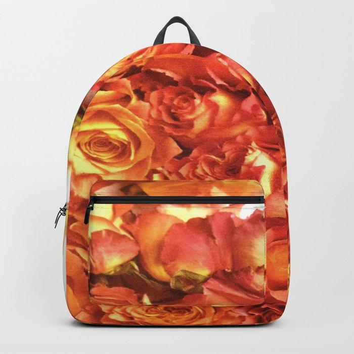 Cluster Of Orange Roses Backpack