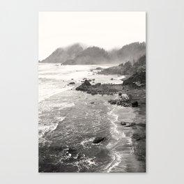 Pacific Ocean Beach Landscape Oregon Coast Northwest PNW Volcano Forest Nature Outdoors Basalt Wilde Canvas Print
