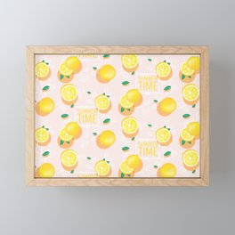 Watercolor Lemon Pattern Framed Mini Art Print