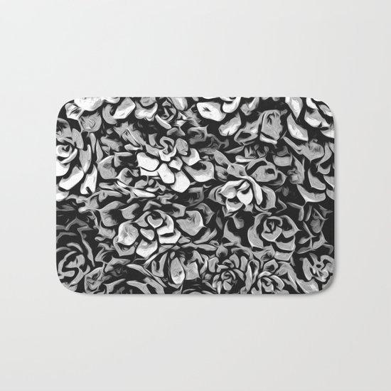 Plants of Black And White Bath Mat