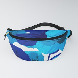 Blue And Turquoise Poppies On A White Background #decor #society6 #buyart Fanny Pack