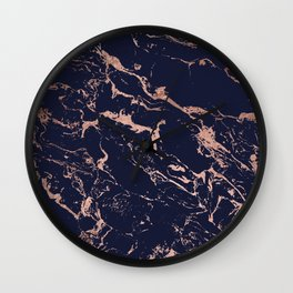 Modern chic navy blue rose gold marble pattern Wall Clock