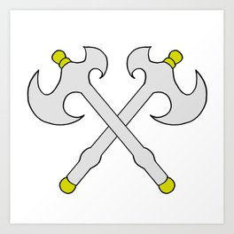 Drawing cartoon of a battle axe Art Print