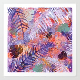Colourful Palm Electric Garden  #tropical #palm #society6 Art Print