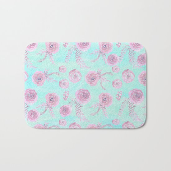 Peony Pattern Pink And Mint Bath Mat
