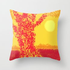 Red Tree, Hot Yellow Sun Throw Pillow
