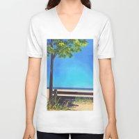 michigan V-neck T-shirts featuring Lake Michigan by Litew8