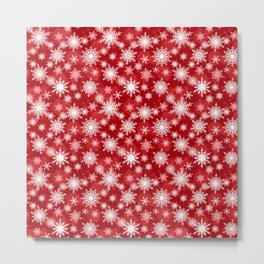 Christmas pattern. Lacy snowflakes on a red background. Metal Print