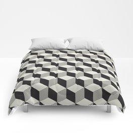 Geometric Pattern 195 (black gray blocks) Comforters