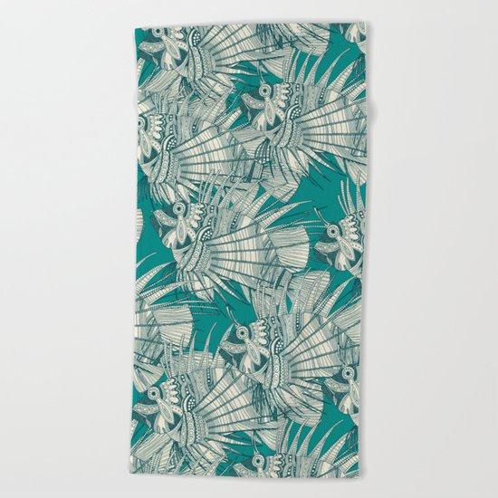 fish mirage teal Beach Towel