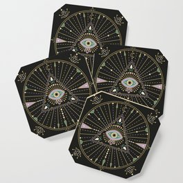 Evil Eye Mandala – Black Coaster