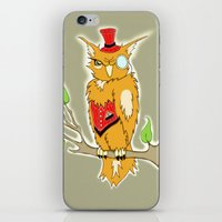 steam punk iPhone & iPod Skins featuring Steam Punk Owl by J&C Creations
