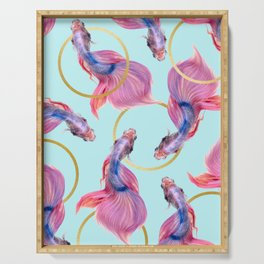 HullaHoops, Eclectic Colorful Fish Graphic Design, Animals Gold Rings Surrealism Quirky Serving Tray