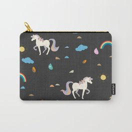 Unicorn Seamless Pattern. Rainbows, suns and drops of rain Carry-All Pouch