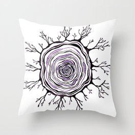 Watercolor Tree Ring, Purple Throw Pillow