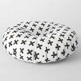 Criss Cross | Plus Sign | Black and White Floor Pillow