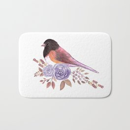 Dark eyed Junco and perennial flowering roses watercolor painting Bath Mat