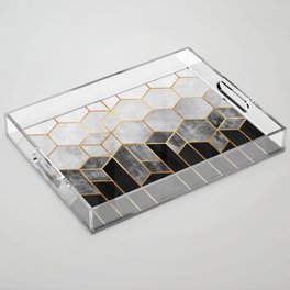 Charcoal Hexagons Acrylic Tray
