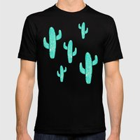 Linocut Cacti Candy LARGE Mens Fitted Tee Black