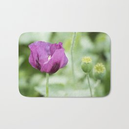 Hungarian Blue Bread Seed Poppy With Seed Pods Bath Mat