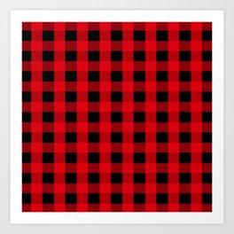 Christmas Red And Black Buffalo Plaid Pattern Art Print