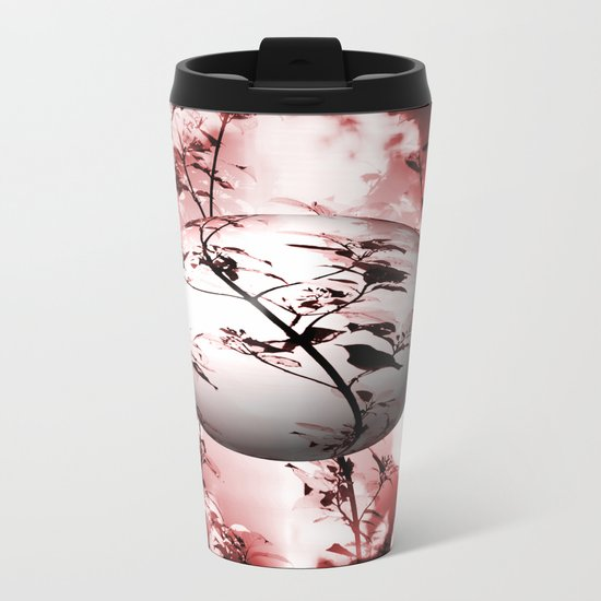 Silhouette of songbird on a branch in burgundy tone variation Metal Travel Mug