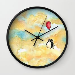 Penguin and a Red Balloon Wall Clock