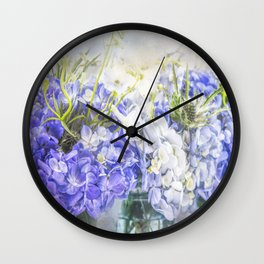 Summertime Purple & White Hydrangeas In Mason Jars Wall Clock