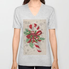 A Vintage Merry Christmas Candy Cane Unisex V-Neck