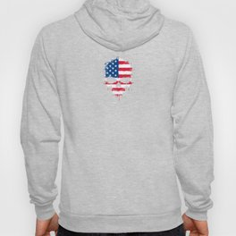 Flag of The United States on a Chaotic Splatter Skull Hoody