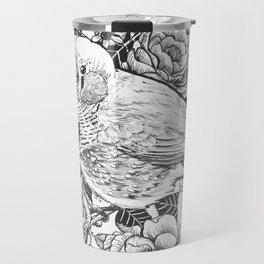 Zebra finch and rose bush ink drawing Travel Mug