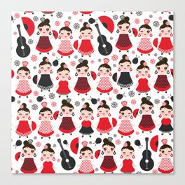 pattern spanish Woman flamenco dancer. Kawaii cute face with pink cheeks and winking eyes. Canvas Print