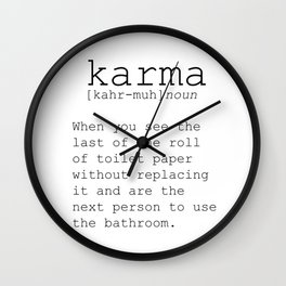 Funny Definition Of Karma Funny Quote Funny Wall Art Printable Wall Art Typography Print Comic Quote Wall Clock