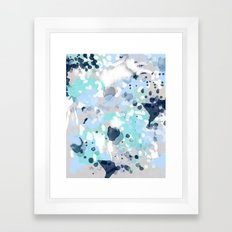 Silva - abstract painting large canvas art print for modern decor cool blue relaxing design urban Framed Art Print