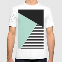Mint Color Block with Stripes // www.penncilmeinstationery.com Mens Fitted Tee MEDIUM White