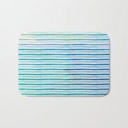 fine aqua handpainted stripes on clear white Bath Mat