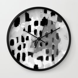 Rexa - abstract minimal modern grey black and white trendy home decor Wall Clock