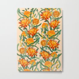 Botanical Australian natives orange on peach Metal Print