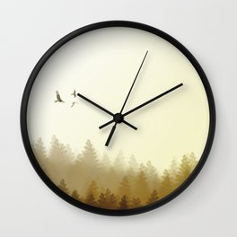 Sunset over forrest Wall Clock