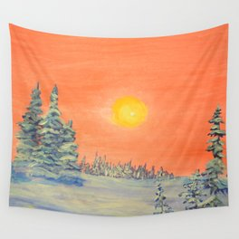 winter trees snow and sun . home decor Wall Tapestry