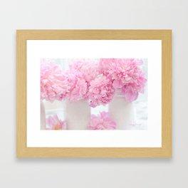 Romantic Shabby Chic Pink Peonies  Framed Art Print