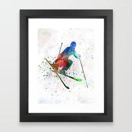 woman skier freestyler jumping Framed Art Print