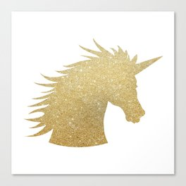 Gold Glitter Unicorn Canvas Print