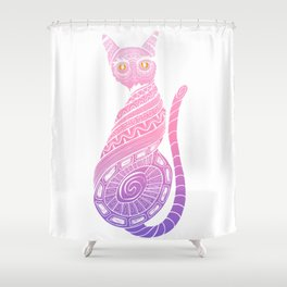 Twisted cat with fired eyes Shower Curtain