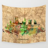 pittsburgh Wall Tapestries featuring pittsburgh city skyline by Bekim ART